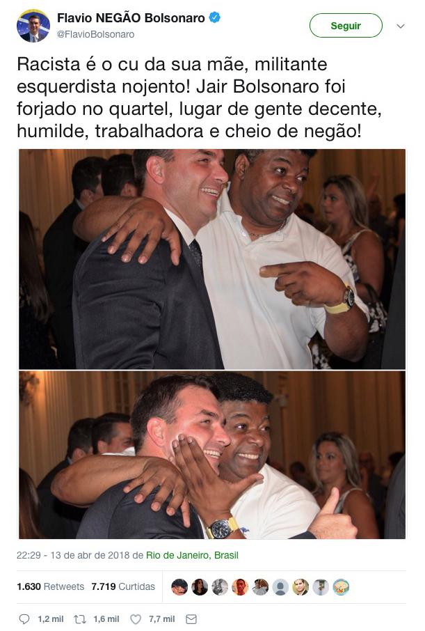 FlavioBolsonaroRacista 'Racista é o cu da mãe', declara fruto de Bolsonaro em reação contra a PGR